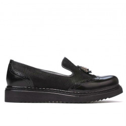 Pantofi casual dama 659 lac negru combinat