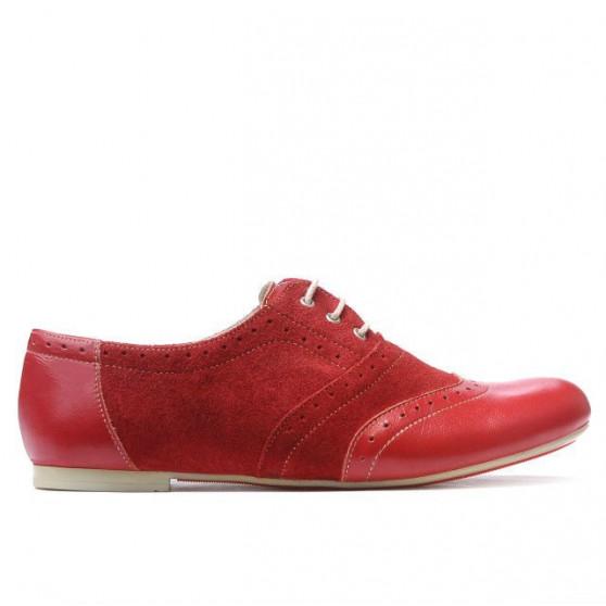 Pantofi casual dama 186 rosu combinat