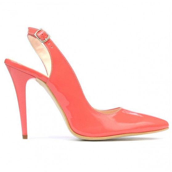 Women sandals 1235 patent red coral