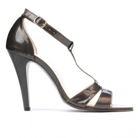Women sandals 1239-1s patent brown pearl