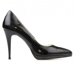 Women stylish, elegant shoes 1244 patent black satinat