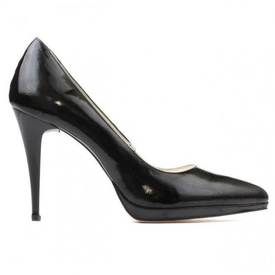 Women stylish, elegant shoes 1244 patent black satinat