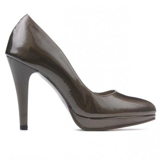Women stylish, elegant shoes 1233 patent brown pearl