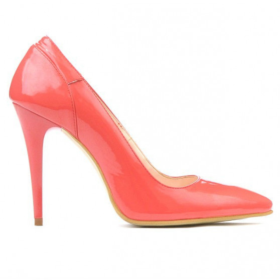 Women stylish, elegant shoes 1230 patent red coral