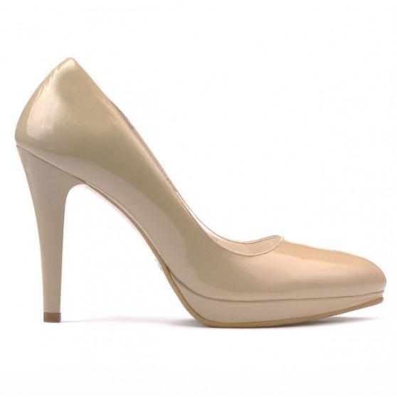 Women stylish, elegant shoes 1233 patent beige