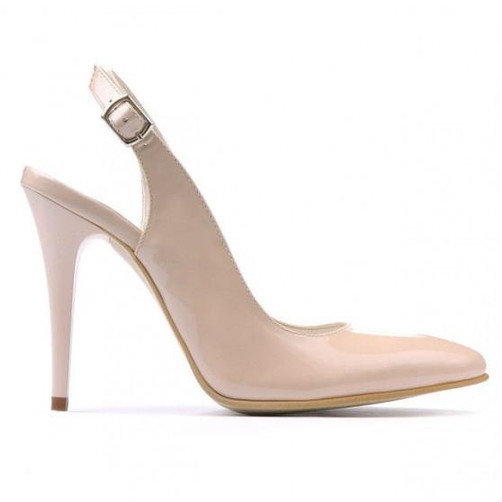 Women sandals 1235 patent beige pearl