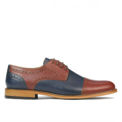 Men stylish, elegant shoes 880 brown+indigo