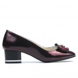 Women stylish, elegant shoes 1270 patent bordo