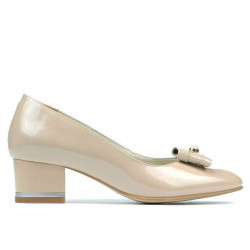 Women stylish, elegant shoes 1270 patent ivory