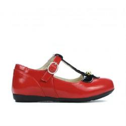 Pantofi copii mici 63c lac rosu combinat