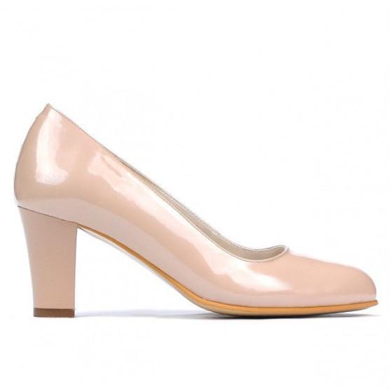 Women stylish, elegant shoes 1209 patent ivory