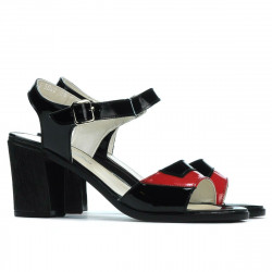 Sandale dama 5042 lac negru+rosu