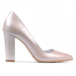 Women stylish, elegant shoes 1261 cappuccino pearl