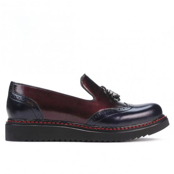 Women casual shoes 659 patent indigo+bordo