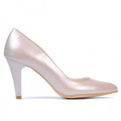 Women stylish, elegant shoes 1234 cappuccino pearl