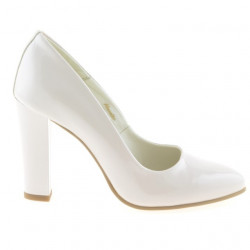 Women stylish, elegant shoes 1214 patent ivory
