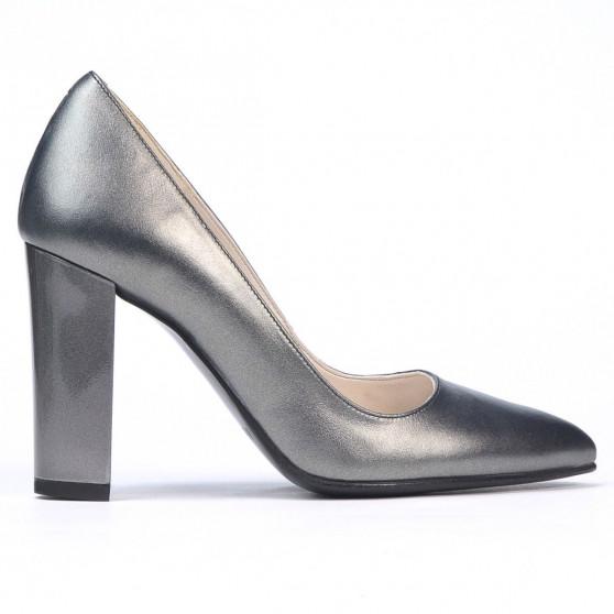 Women stylish, elegant shoes 1261 gray metalizat