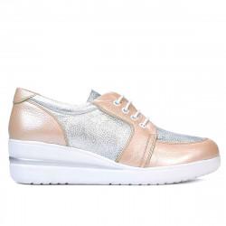 Pantofi casual dama 6006 pudra combinat