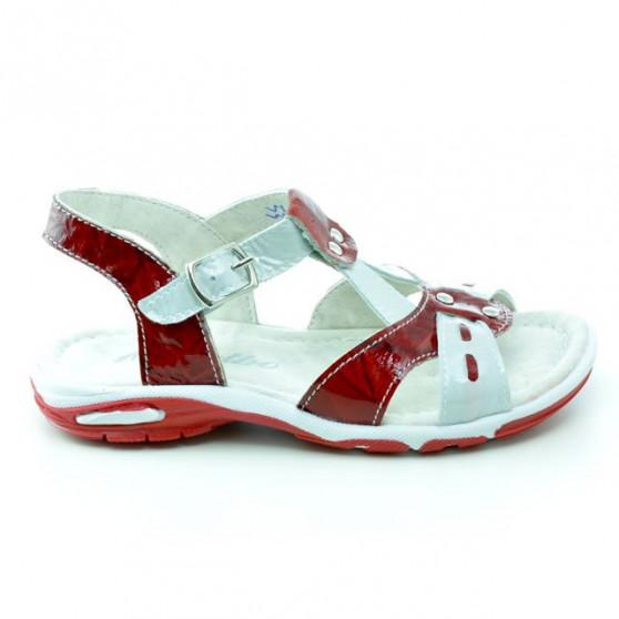 Small children sandals 10c patent red+white