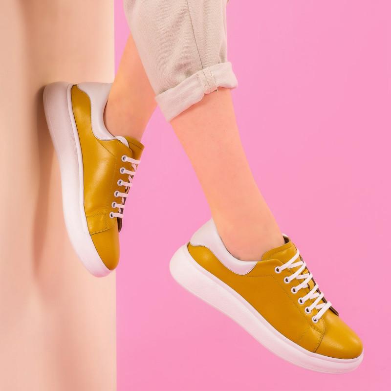 Pantofi sport dama 6008 galben combinat lifestyle