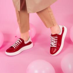 Pantofi sport dama 6008 rosu combinat
