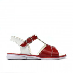 Small children sandals 40c patent red+white