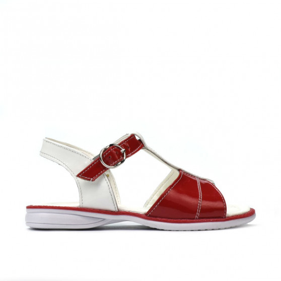 Small children sandals 40c patent red+white