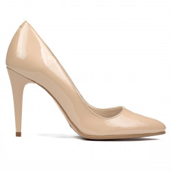 Women stylish, elegant shoes 1246 patent beige pearl