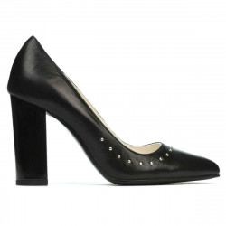Women stylish, elegant shoes 1275 black satinat