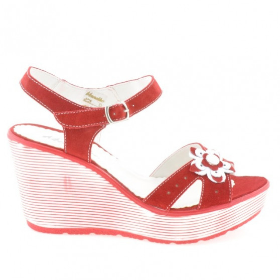 Women sandals 5006 red velour
