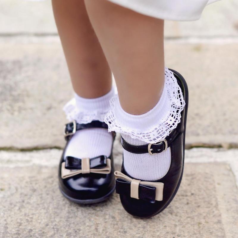 Pantofi copii mici 51c lac negru+bej lifestyle