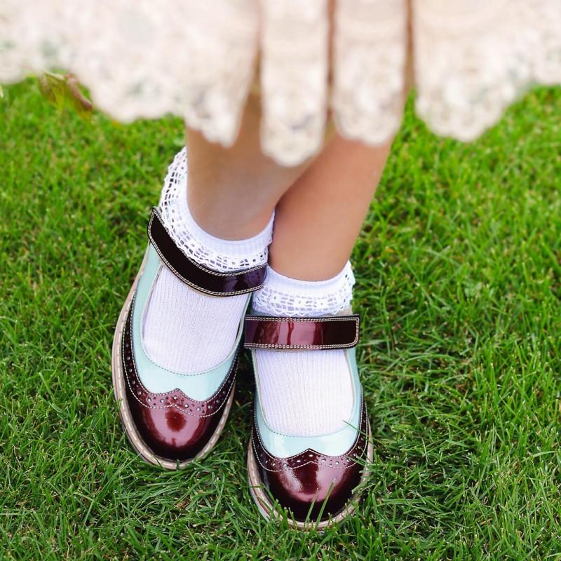 Pantofi copii 153 lac bordo combinat lifestyle