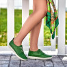Women loafers, moccasins 688 green crud