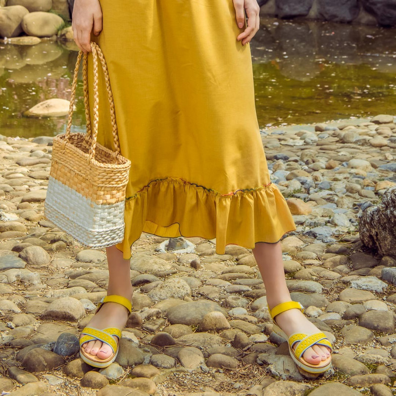 Sandale dama 5061 galben+alb lifestyle
