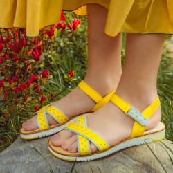 Women sandals 5061 yellow+white