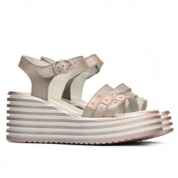 Women sandals 5064 cappuccino pearl
