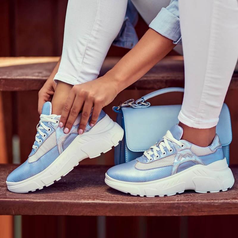 Pantofi sport dama 6015 bleu sidef combinat lifestyle