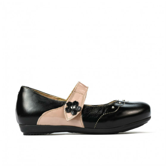 Pantofi copii mici 68c lac negru combinat