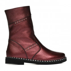 Children knee boots 3019 bordo pearl