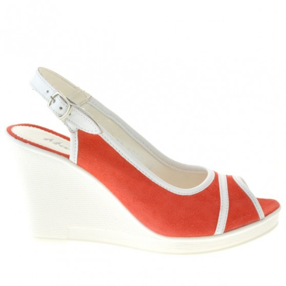 Women sandals 5000 red coral velour+white