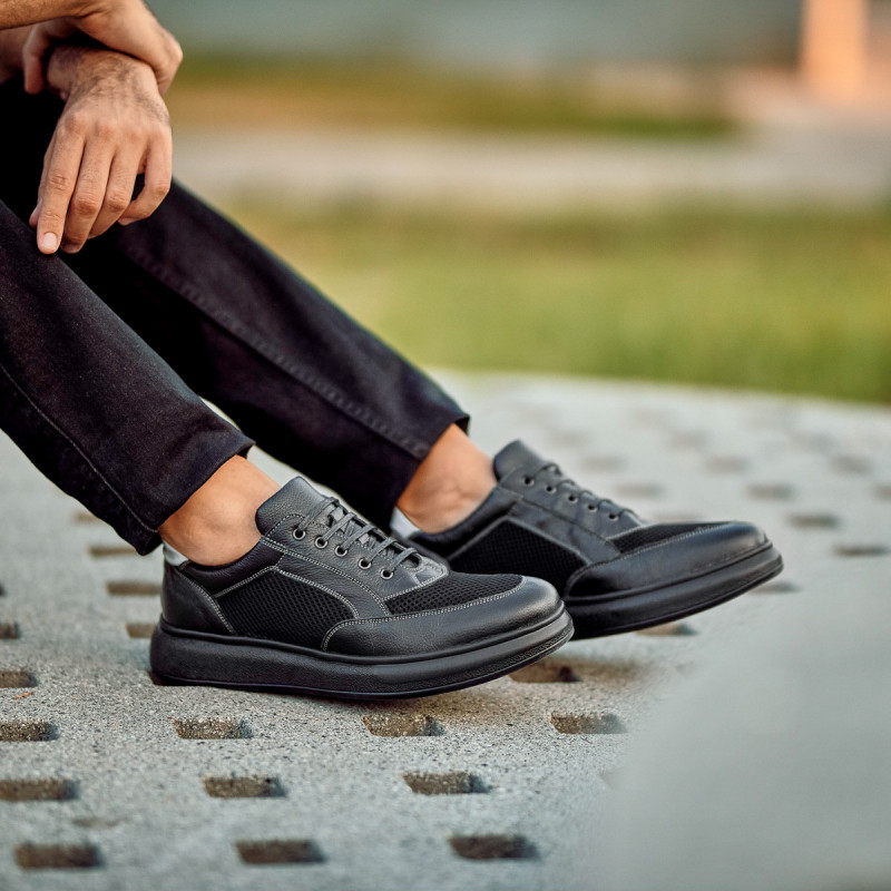 Pantofi casual/sport barbati 906 negru combinat lifestyle