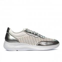 Pantofi sport dama 6024 argintiu+alb
