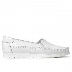 Women loafers, moccasins 6023 white