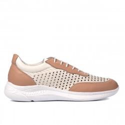 Pantofi sport dama 6024 pudra+alb
