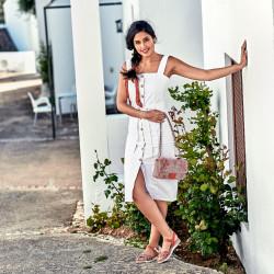 Women sandals 5061 ginger+white