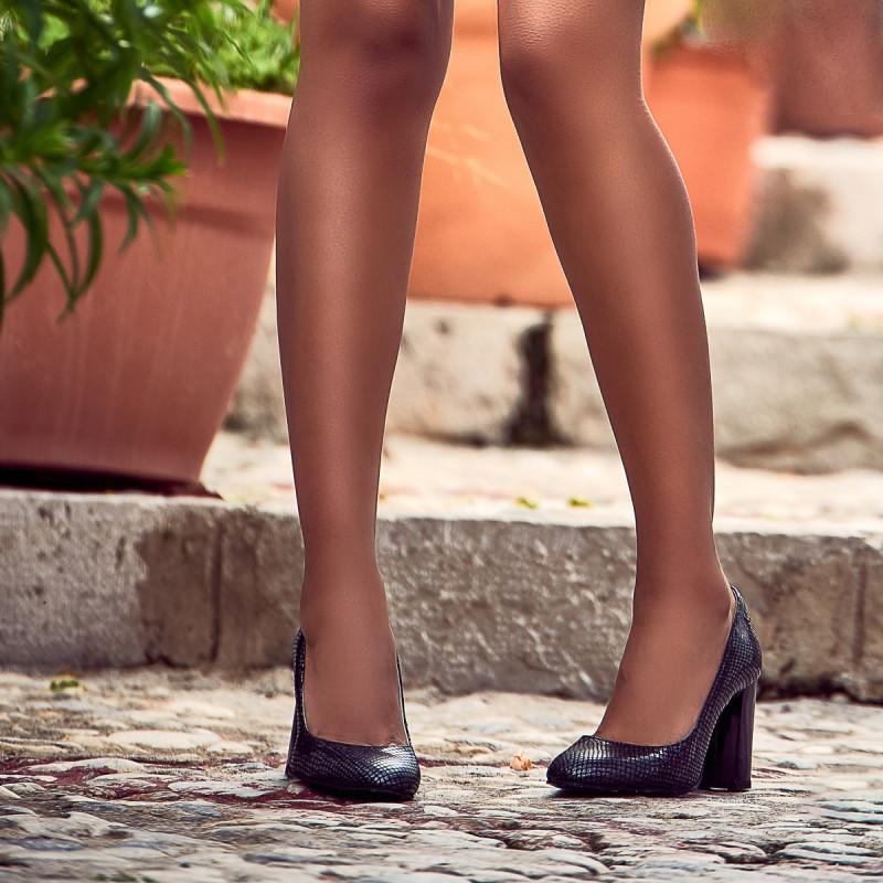 Pantofi eleganti dama 1261 piton negru lifestyle