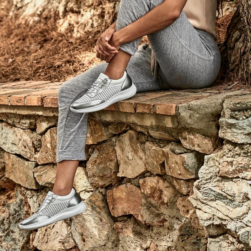 Pantofi sport dama 6024 argintiu+alb lifestyle