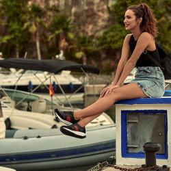 Women sport shoes 6030 black+red