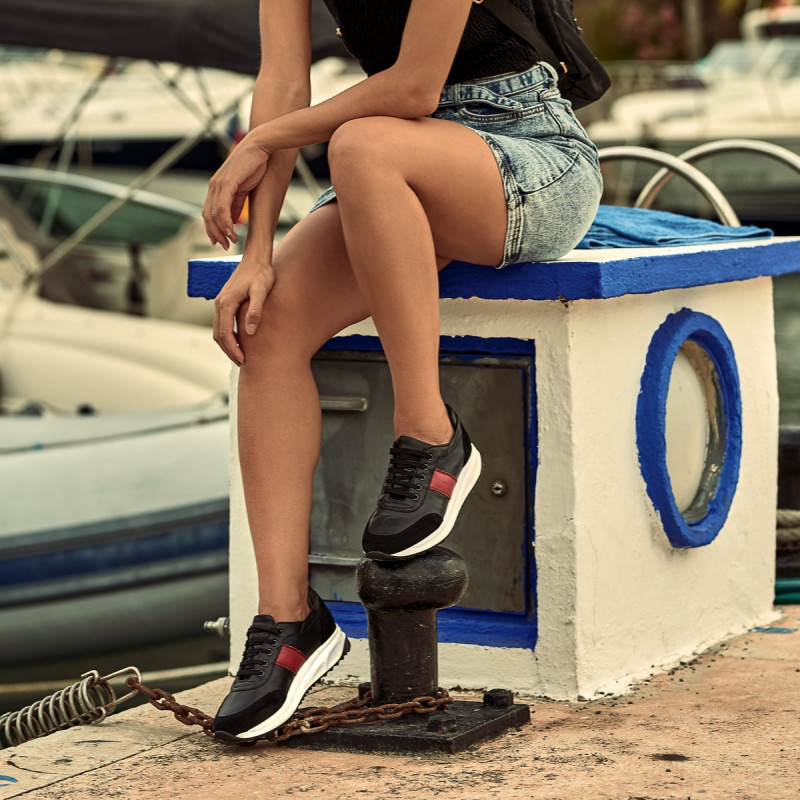 Pantofi sport dama 6030 negru+rosu lifestyle