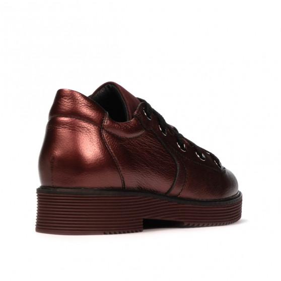 Pantofi casual dama 6026 bordo sidef combinat
